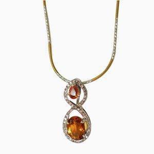 Gold Pendant with Orange Sapphire and Diamonds