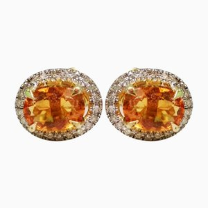 Gold Earrings in Citrine and Diamond, Set of 2