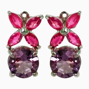 Earrings in Gold Amethyst and Ruby, Set of 2