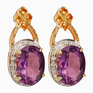 Gold Earrings in Amethyst Citrine and Diamond, Set of 2