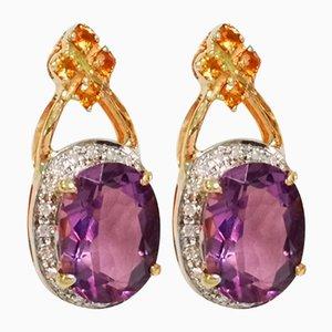 Goldene Ohrringe aus Amethyst in Citrin und Diamant, 2er Set
