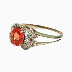 Orange Sapphire and Diamond Gold Ring