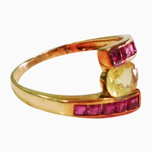 Yellow Sapphire and Gold Ruby Ring