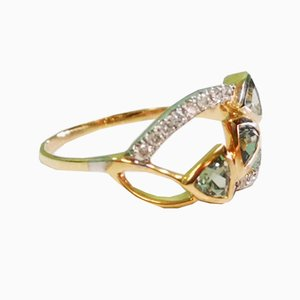 Yellow Gold, Green Sapphire and Diamond Ring