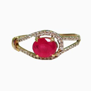 Two-Tone Gold, Diamond and Ruby Ring