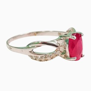 Ruby, White Gold and Diamond Ring