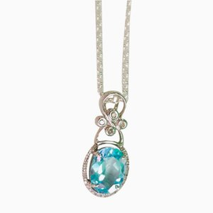 Gold, White Topaz and Blue Diamond Pendant with Silver Chain