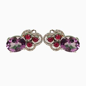 Gold, Amethyst Ruby and Diamond Earrings, Set of 2