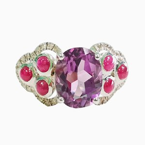 Amethyst Ruby, ​​White Gold and Diamond Ring