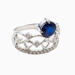 1.6 Carat Round Sapphire, White Gold and Diamond Ring