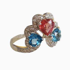 Weißgold, Saphir in Pink, Blautopas und Diamantring