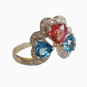 White Gold, Pink Sapphire, Blue Topaz and Diamond Ring