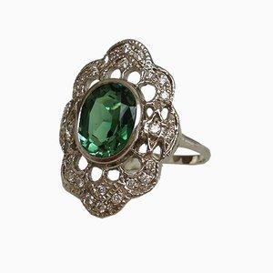 Ring aus 18 Karat Weißgold mit grünem Turmalin und Diamanten