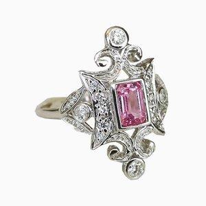 Ring aus 18 Karat Weißgold mit pinkem Saphirglas