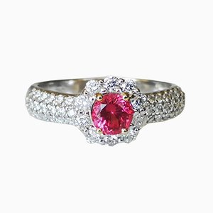 White Gold 18 Carat with Pink Spinel and Diamonds