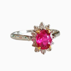 18 Carat Gold Ring with Ruby and Diamonds