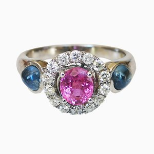 18 Carat White Gold Ring with Pink Unheated Sapphire, Blue Sapphire, and Diamonds