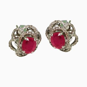 Ruby, White Gold and Diamond Earrings, Set of 2