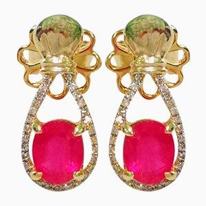 Boucles d'Oreilles en Or Jaune, Rubis et Diamants, Set de 2