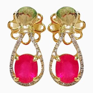 Yellow Gold, Ruby ​​and Diamond Earrings, Set of 2