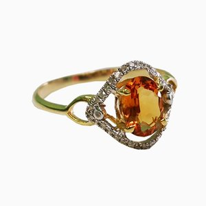 Citrine Diamond and Gold Ring
