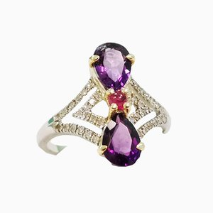 White Gold Ring with Amethyst and Diamonds Pears
