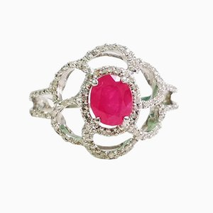 Ruby and White Gold Ring with Diamonds