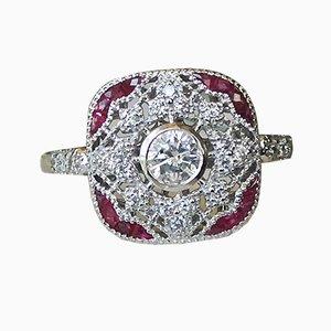 18K White Gold Art Deco Style Ring