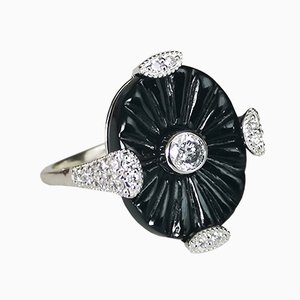 Ring in Art Déco Style with Onyx and Diamonds