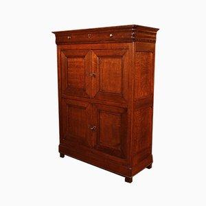 Small Antique Blond Oak 4-Door Buffet, 1800s