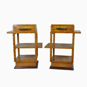 Art Deco Burr Side Tables, 1930s, Set of 2