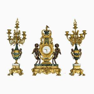 Orologio e tripode vintage in bronzo e marmo verde, inizio XX secolo, set di 3