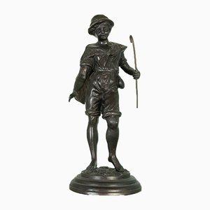 Statua in bronzo raffigurante un pescatore in bronzo, inizio XX secolo
