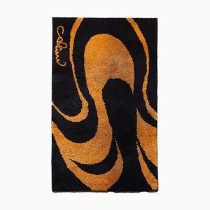 Vintage Teppich in Orange & Schwarz von Luigi Colani für Colani
