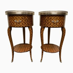 French Marquetry Nightstands, Set of 2