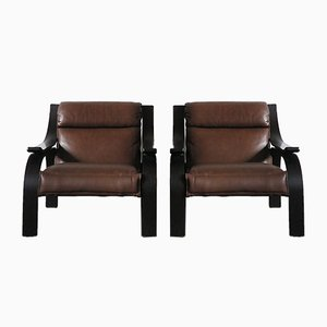 Italian Woodline Lounge Chairs by Marco Zanuso for Arflex, 1960s, Set of 2