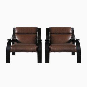 Italienische Woodline Sessel von Marco Zanuso für Arflex, 1960er, 2er Set