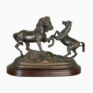 Statua in bronzo di cavalli, fine XIX secolo