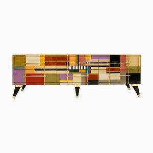Mid-Century Italian Glass & Brass Sideboard for L.A. Studio