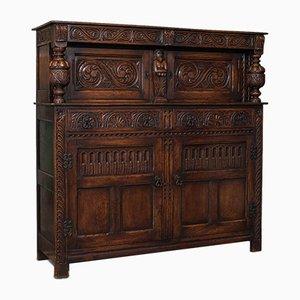 Antique English Jacobean Revival Oak Cabinet, 1890s