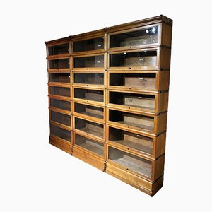 Large Antique English Oak 21-Piece Cabinet from Globe Wernicke, 1900s, Set of 21