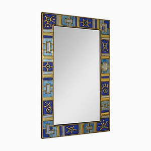 French Glass Paste & Enamelled Glass Mirror, 1960s