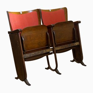 Belgian Art Deco 2-Seater Folding Cinema Bench from Fibrocit, 1930s