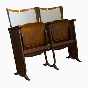 Art Deco 2-Seater Folding Cinema Bench from Fa. Fibrocit Brussels, Belgium, 1930s