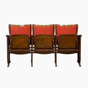 Belgian Art Deco 3-Seater Folding Cinema Bench from Fibrocit, 1930s