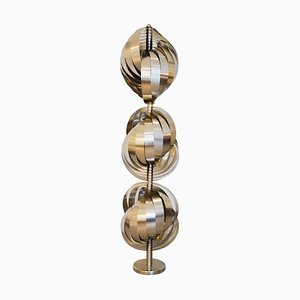 Steel & Aluminium Spirales Cinétiques Floor Lamp by Henri Mathieu, 1970s