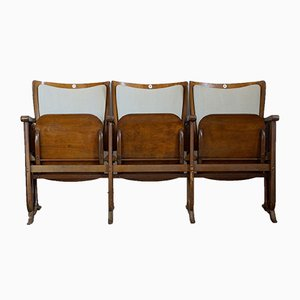Art Deco 3-Seater Folding Cinema Bench from Fa. Fibrocit Brussels, Belgium, 1930s