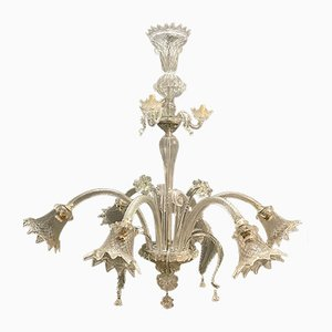 Large Clear Murano Glass Chandelier 1960's