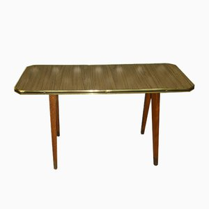 Teak Effect Formica Flower Side Table, 1960s