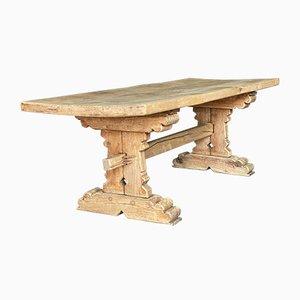 Antiker Französischer Esstisch aus Gebleichter Eiche